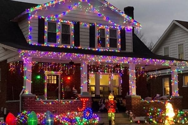 Outdoor Christmas lights and decorations on house