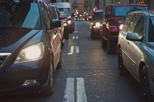Cars stopped in traffic increase Air Pollution from Vehicles