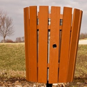 Orange Wooden Outdoor trash can
