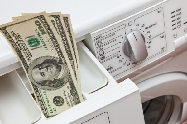 Clothes Washer with money