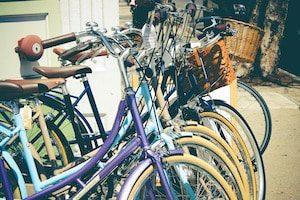 Cruiser Bicycles on rack