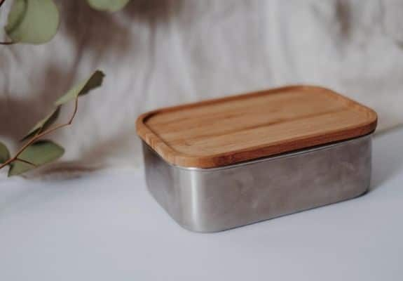 Eco friendly metal container with wooden lid