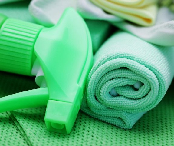 Green cleaning supplies to reduce indoor air pollution