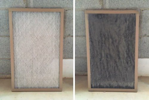 HVAC filters clean and dirty
