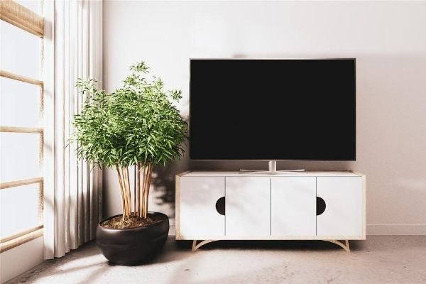 LED TV on TV stand in living room