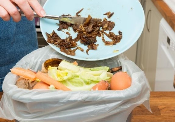 Person scraping food into bin conserves indoor water