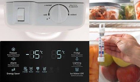 Fridge thermometer images show settings on how to save energy in winter